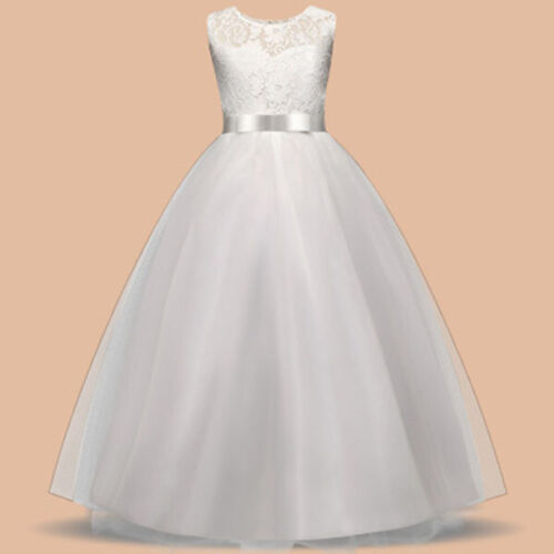 For Kids Dress Princess Ball Birthday Party Gown Girls Wedding UK Prom Age 5-14