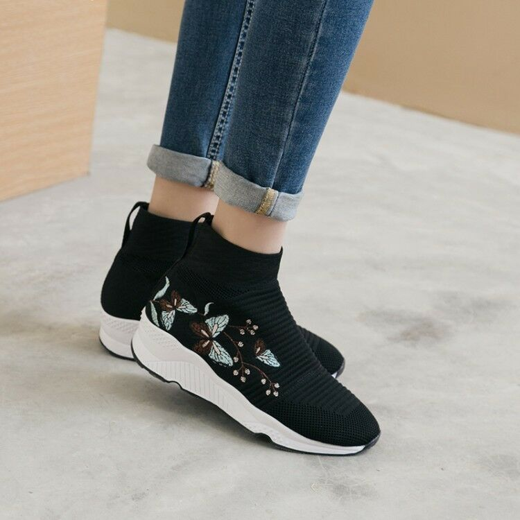 Ladies Embroidered Flower Pull On Sweater Winter Ankle Boots Med High Wedge Heel