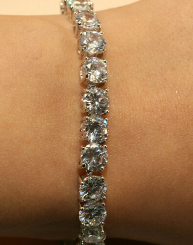 5ct ROUND CUT DIAMOND TENNIS BRACELET 14K WHITE GOLDFINISH WOMENS