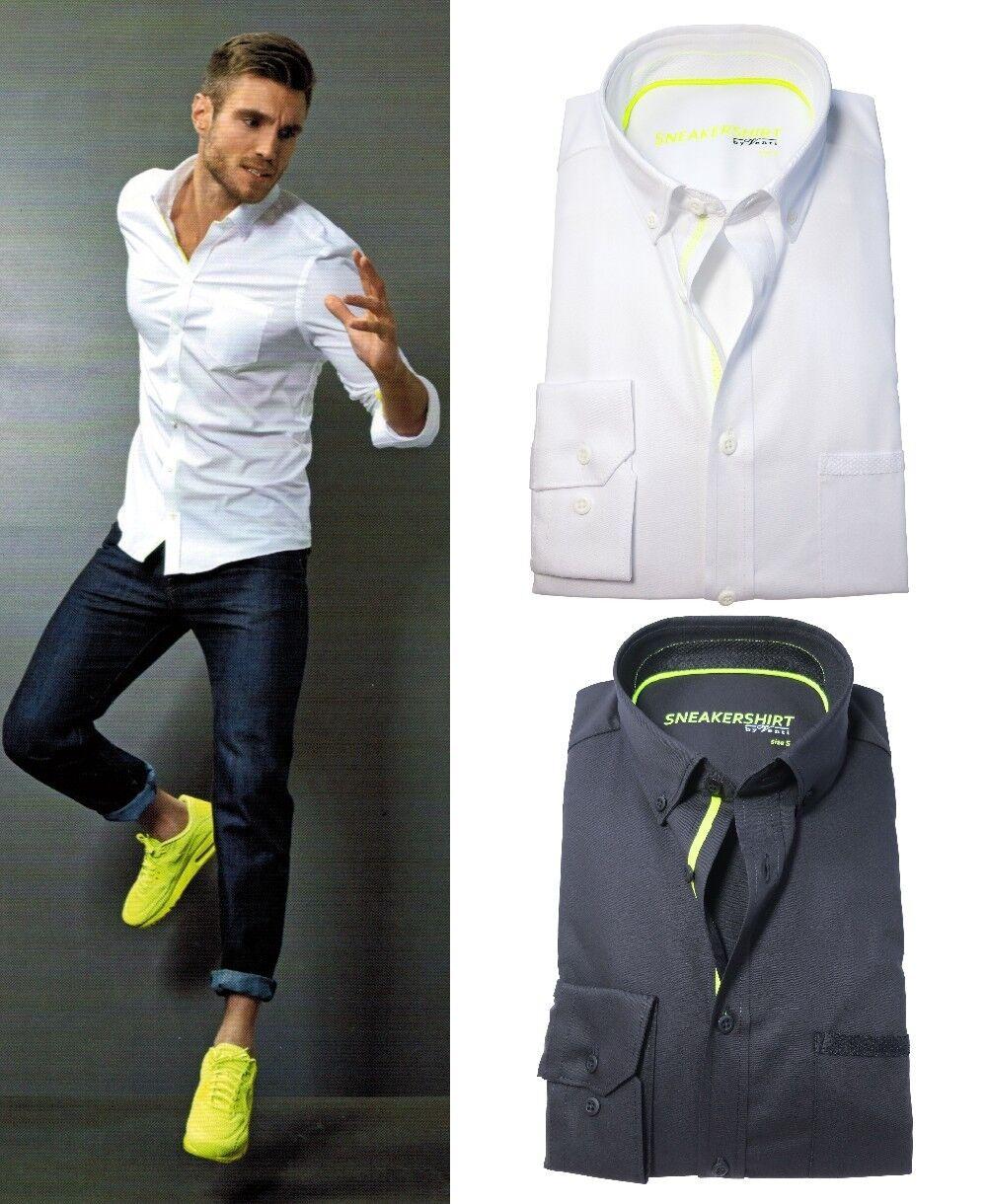 Venti TurnschuheHIRT Slim Fit Langarmhemd weiss schwarz 4-Wege Stretch M bis 3XL  | Nicht so teuer