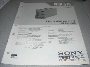 SONY-WRR-57G-Wireless-Microphone-System-UHF-Tuner-Unit-Service-Manual