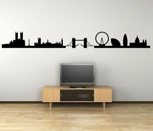 Image is loading London-Panorama-Silhouette-Giant-Vinyl-Wall-Stickers-Decal- & London Panorama Silhouette - Giant Vinyl Wall Stickers Decal Decor ...