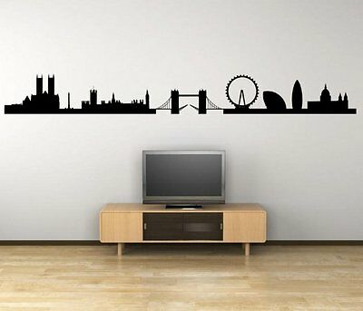 London Panorama Silhouette - Giant Wall Stickers Decal High Quality 18cm x 150cm