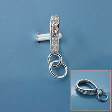 Large Sterling Silver CZ Crystal Pendant Bail Connector w/Open Loop, Ring #33492