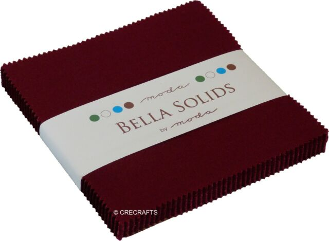 Burgundy Bella Solids Moda Charm Pack 42 5 inch 100% Cotton Precut Quilt Squares