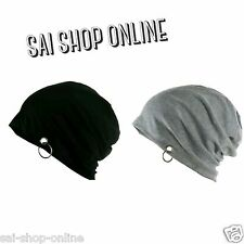 Grey + Black Beanie Skull Cap with Ring for Men and Women winter cap *.*