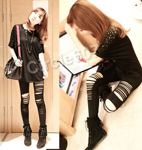 Sexy-Punk-Low-Rise-Render-Pants-Thights-Ripped-Stretch-Torn-Slashed-Leggings