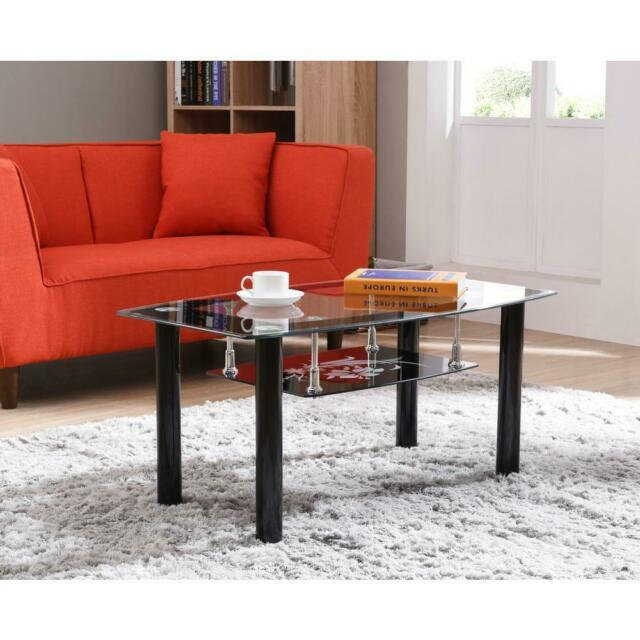 Pleasing Glass Top Black Metal Living Room Furniture Accent Coffee Table With Lower Shelf Cjindustries Chair Design For Home Cjindustriesco