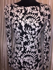 Details About Alice Olivia Black White Long Sleeves Dress Size S