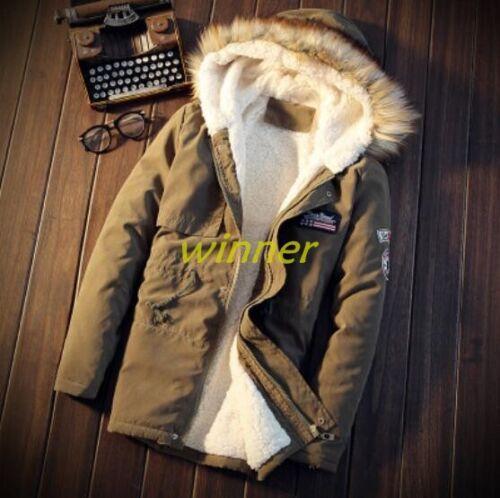 Fashion Men Fur Collar Jacket Military Hooded Slim Fit Mid long Fur lined Jacket