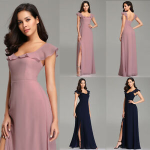 a30917bc4bda Image is loading Ever-pretty-Long-Chiffon-Split-Bridesmaid-Wedding-Dresses-