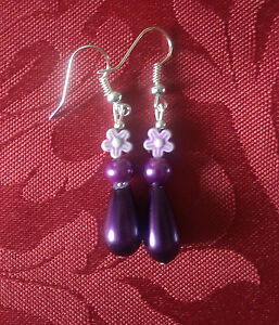 Drop glass pearl bead purple drop dangle silver plated hookpearl flower 138 - <span itemprop='availableAtOrFrom'>Wiltshire, United Kingdom</span> - Drop glass pearl bead purple drop dangle silver plated hookpearl flower 138 - Wiltshire, United Kingdom