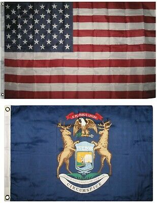 Wholesale Combo USA /& State of Michigan 2x3 2/'x3/' Flag /& Friendship Lapel Pin