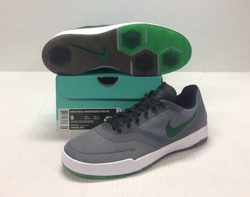 NIKE SB PAUL RODRIGUEZ 9 ELITE COOL GREY / PINE GREEN -WHITE - BLACK
