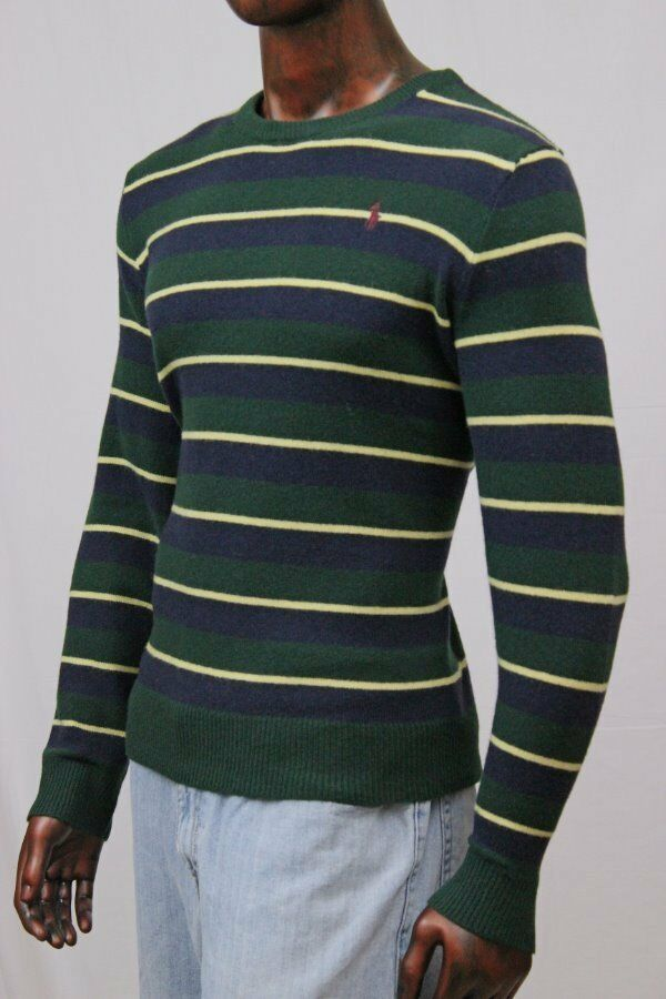 Polo Ralph Lauren Grün Stripes Lambs Wool Sweater Maroon PonyNWT