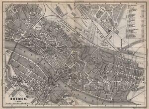 Bremen Antique Town City Stadtplan Deutschland Karte Baedeker