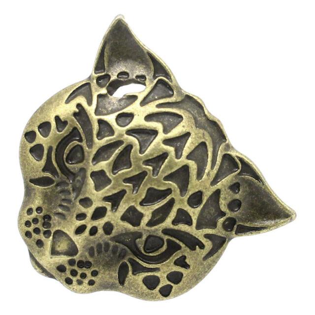 "5 New Charm Pendants Leopard's Head Bronze Tone 3cmx2.8cm(1 1/8""x1 1/8"")"