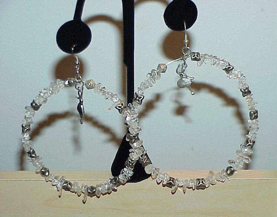 Quartz Crystals Huge Hoop dangle Dancer Earrings Couture 4  Jumbo Biker H.Made