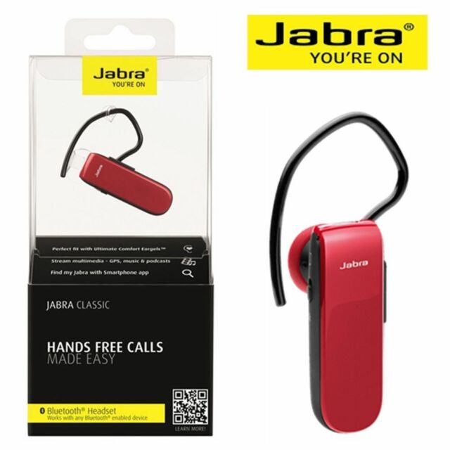 Jabra Classic Mono Bluetooth Headset Red for iPhone Andriod Pickup Available
