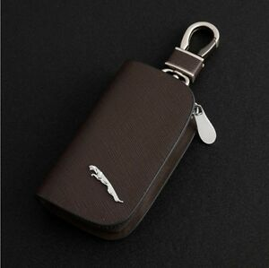 Elegant Cowhide Leather car key bag key ring key chain for JAGUAR Brown