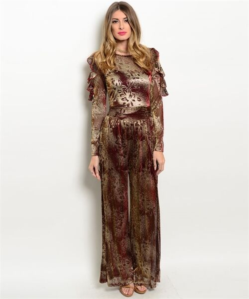 Sexy Wine and Gold Chiffon Lined Jrs Party Romper Jumpsuit S, M, L USA