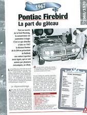 Pontiac Firebird 1967 USA Car Auto FICHE FRANCE