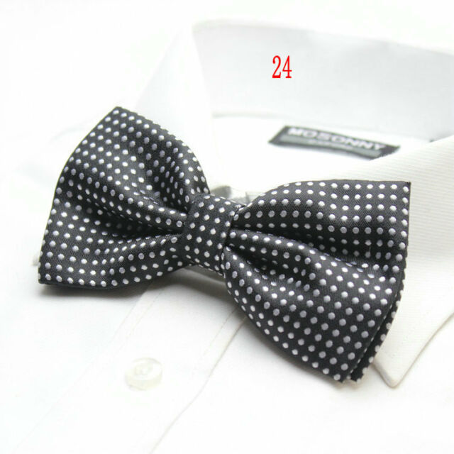 MENS Luxury 2 Layer BLACK & WHITE Polka Dot Dickie Bow Tie Adjustable NEW