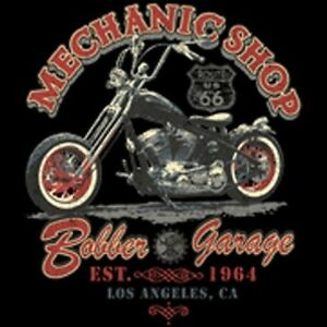MECHANIC-SHOP-BIKER-RIDER-LOS-ANGELES-CHEST-LOGO-T-SHIRT-BLACK-OR-GRAY-M-TO-5X
