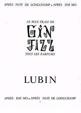 PUBLICITE ADVERTISING 064  1955  LUBIN  parfum GIN FIZZ