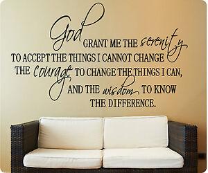 Serenity Prayer God Grant Me Accept Wisdom Wall Decal