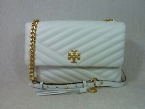 fd1e9d1ed364 NWT Tory Burch New Ivory Kira Chevron Flap Shoulder Bag  528 ...