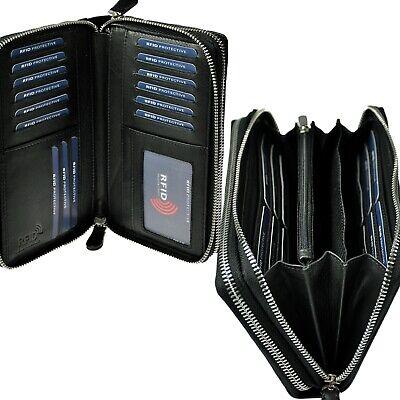 AMARI XXXL Geldbörse mit RFID-Blocker 2 umlaufende Reißverschlüsse 40 Fächer