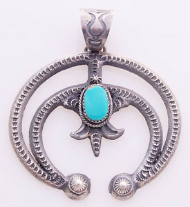Navajo handmade by kevin billah silver naja pendant with turquoise image is loading navajo handmade by kevin billah silver naja pendant aloadofball Image collections