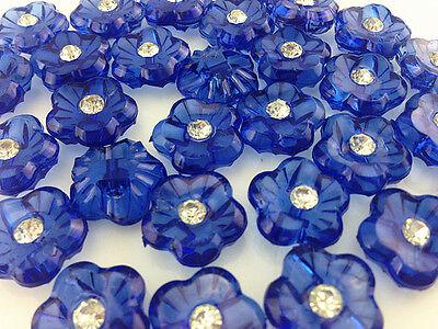 NEW 15pcs/60pcs plum blossom rhinestone Transparent Acryl Sewing Button 15mm