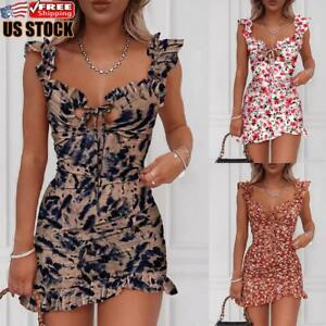 US Womens Sexy Sleeveless Floral Bodycon Dress Evening Party Club Cocktail Dress