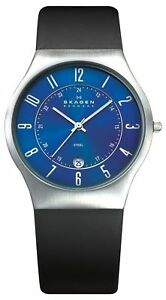 SKAGEN-Herrenuhr-233XXLSLN-Herren-Armbanduhr-Leder-Blau-Schwarz-Datum-Uhr