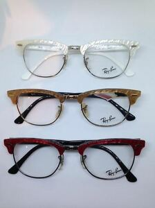 Image is loading Ray-Ban-rb5154-Clubmaster-Eyeglasses-White-Red-Brown- ed38db11e4
