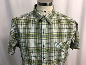 KUHL-Mens-Large-L-Short-Sleeve-Button-Front-Plaid-Checkered-Shirt