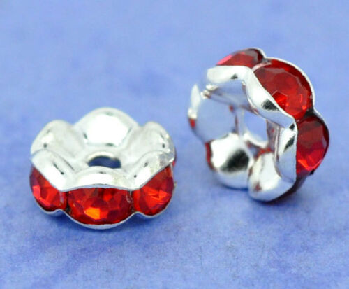 20pcs 8mm silver plated red flower rhinestone rondelle spacer beads findings