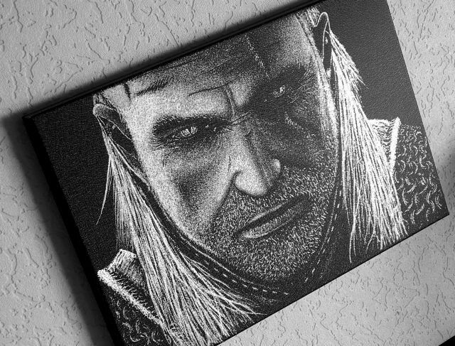 Geralt Witcher Engraved Metal Metal Metal Wall Hanging Home Cottage Art Handmade Rare B ba8a58