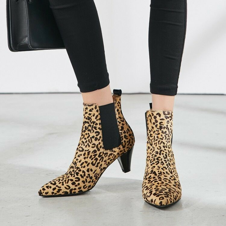 Ladies Womens Block Mid Heel Leopard Printed Ankle Boots Pointed Plus Size shoes