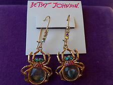 Betsey Johnson Authentic NWT Gold-Tone Shaky Faceted Bead Spider Drop Earrings