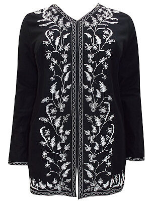 Ulla Popken ladies dress plus size 16//18 black cotton knit printed stretch
