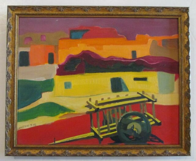 GILMORE VANSTONE Jr CALIFORNIA ABSTRACT MODERN PUEBLO TOWNSCAPE PAINTING SIGNED