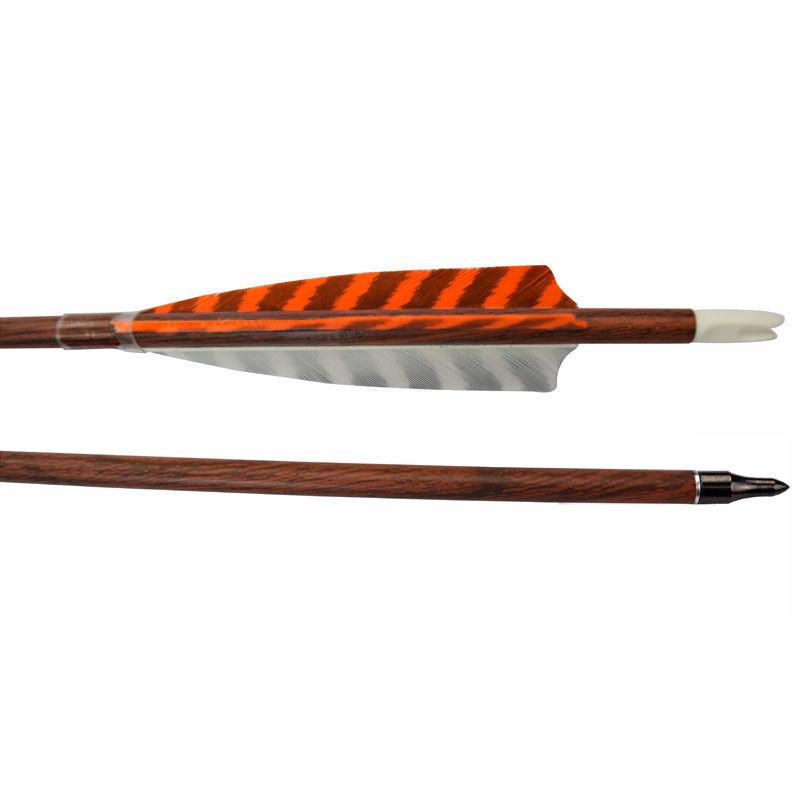 6X 30  Wood Carbon Arrows SP400 Turkey Feather Field Point Archery TargetHunting