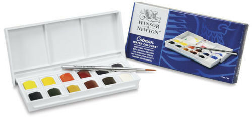 Winsor /& Newton Cotman Aquarelle Peinture Sketchers Pocket Box Set 12 demi-casseroles