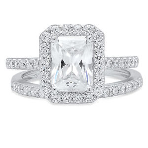 2-2CT-Emerald-Cut-Engagement-Bridal-Solitaire-Pave-Ring-Band-set-14k-White-Gold