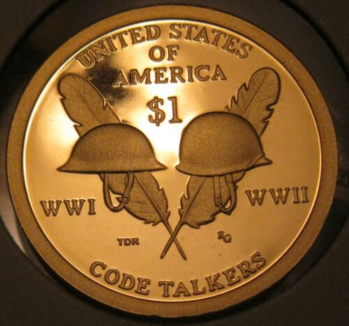 Beautiful Coin 2016s Cameo Proof Native American Dollar Code Talkers Reverse