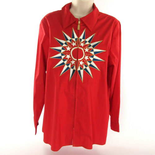 Bob Mackie Shirt M Stretch Cotton Nautical Emblem Long Sleeve Zip Blouse Top