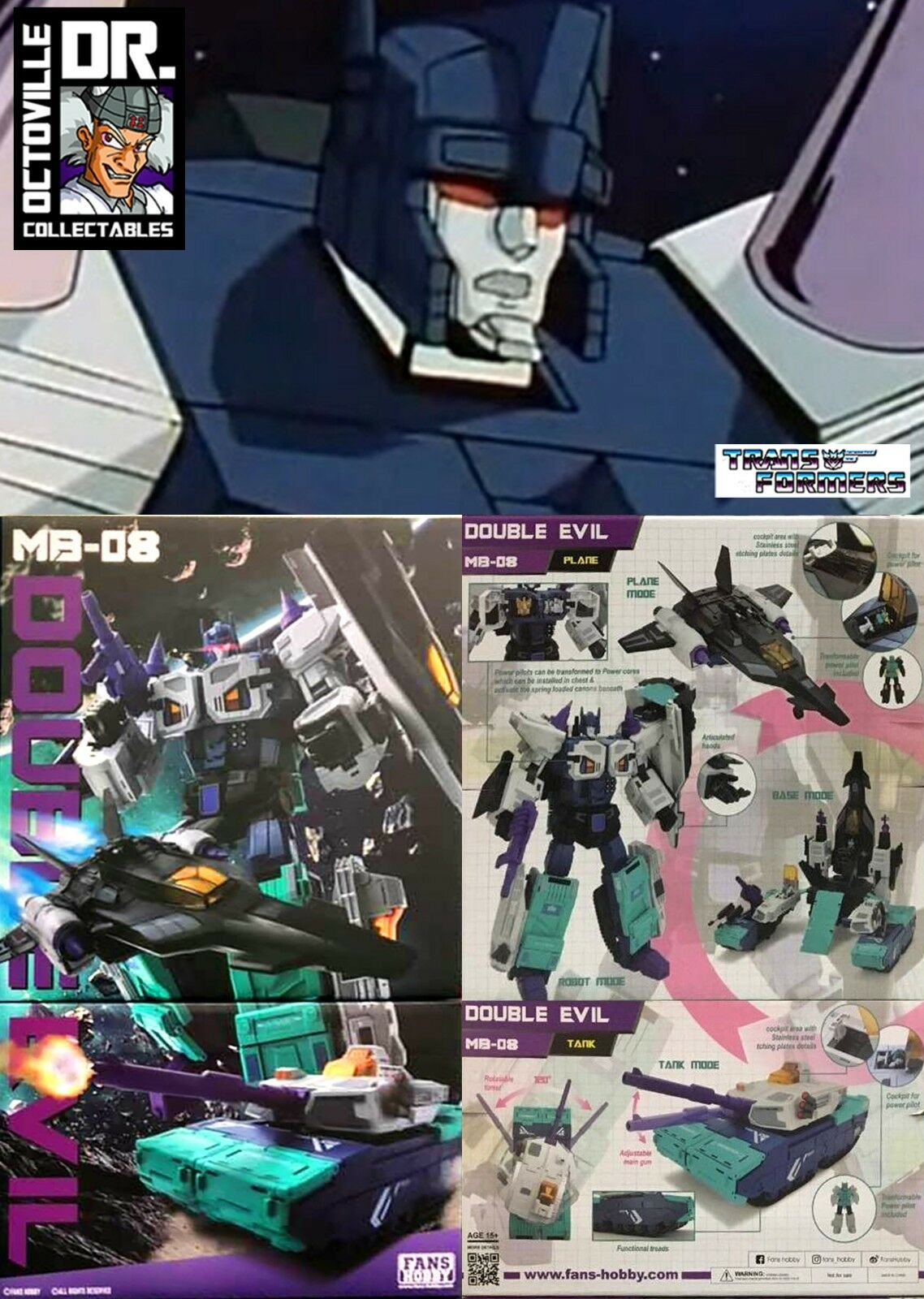 moda Transformers obra maestra Fans Fans Fans Hobby MB-08 doble mal MP Overlord Nuevo  opciones a bajo precio